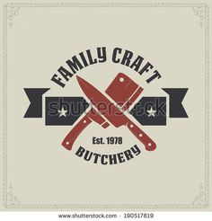 Retro styled vector labels of butcher shop - stock vector