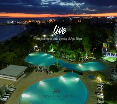 Dusk here at Grecian Bay Hotel Cyprus brings tranquil moments that invoke beautiful images of a painted sky… can your night's anticipation be more magical? Grecian Bay, Ayia Napa, Sky Night, Five Star Hotel, Crystal Clear Water, Cyprus, Dusk, Beautiful Images, Hotels
