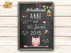 Zur Einschulung - Poster mit Namen von VintagePaperGoods - GreenNest auf DaWanda.com