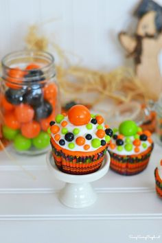 Colorful Halloween Inspired Cupcakes Inspired by Sixlets #halloween #cupcakes