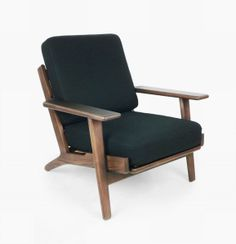 Black Wool Arm Chair