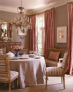 Billowy pink silk curtains.
