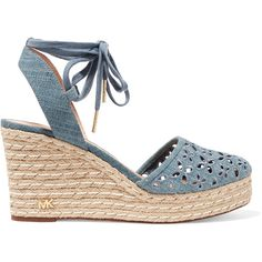 MICHAEL Michael Kors Darci embroidered canvas espadrilles sandals (€84) ❤ liked on Polyvore featuring shoes, sandals, light denim, platform shoes, platform espadrille sandals, platform wedge sandals, michael michael kors shoes and tie sandals