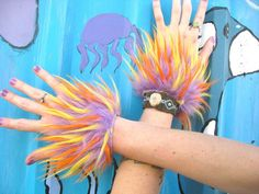 SuNbUrSt Wrist CUFFS -- FLuffy Fur Lavender // Orange // Yellow -- monster fur fluffies Costume Accessory funky retro dance hoop
