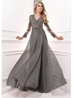 A-Line Long Sleeves V-Neck Chiffon Mother of The Bride Dresses 99503034