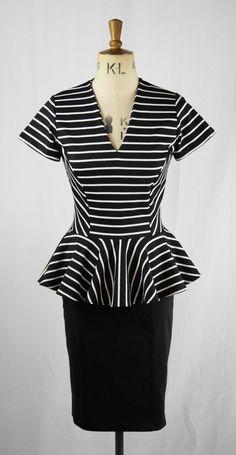 Baylis & Knight Black White STRIPE Ponte PEPLUM by BaylisandKnight Black White Stripes, Black And White, Moslem Fashion, Low Cut Dresses, Knight, Peplum, Trending Outfits, My Style, Burlesque