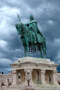 Statue of Saint Stephen, Budapest, Hungary, Statues, Places Around The World, Around The Worlds, Capital Of Hungary, Buda Castle, Central And Eastern Europe, Austro Hungarian, Beautiful Buildings, Modern Buildings
