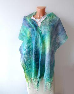 Felted scarf - Blue turquoise #felted #scarf #wool #felt #blue