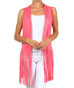 This Coral Fringe Vest by J-MODE is perfect! #zulilyfinds