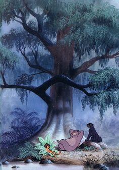 """The Jungle Book"", 1967. Buddies Mowgli, Baloo, and Bagheera relaxing in the jungle."