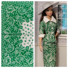 Green suit for Barbie and the vintage hankie it was made from