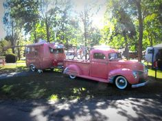 Love When I get done with my pink camper I will need a pink truck like this to pull it. Old Campers, Vintage Campers Trailers, Retro Campers, Vintage Caravans, Camper Trailers, Happy Campers, Vintage Rv, Vintage Trucks, Old Trucks