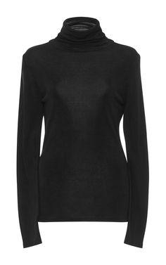 Frame Silk Fitted Turtleneck Top In Noir Frame Denim, Denim Fashion, Turtle Neck, Silk, Long Sleeve, Fitness, Model, Sweaters, How To Wear