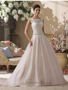Illusion and Scalloped Lace Bateau Neckline A-line Wedding Dresses - Modbridal.com