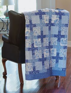 Blue White and Orange Traditional Block Quilt; Team Spirit Quilt; Double Sided Contemporary Lap or Sofa Quilted Throw