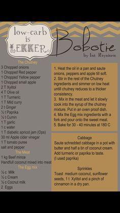 Low Carb is Lekker - Bobotie Recipe Banting Diet, Banting Recipes, Low Carb Recipes, Real Food Recipes, Diet Recipes, Healthy Recipes, Paleo Meals, Healthy Meals, Keto Meal
