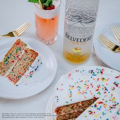 The dessert you deserve. Pair the Banana Coconut Funfetti Cake with the Belvedere Diamond Fizz. 1.5 oz Belvedere Ginger Zest / .75 oz Fresh Lemon Juice / .75 oz Simple Syrup / 1 egg white / 3 oz Sparkling Wine / 3 Strawberry Slices. Belvedere is a quality choice. Drinking responsibly is too.