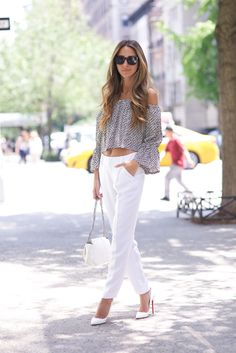 fashion-dazzle:  justthedesign:  Greet summer with everyone's favourite monochromes - white trousers and heels with a grey off the shoulder tee is just what you need! ViaArielle NachamiPants: Alice & Olivia, Top: Stone Cold Fox, Shoes: Christian Louboutin, Bag: Chanel, Sunglasses: Wildfox, Earring: Anita Ko  fashion blog ❤