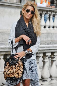 Style Stalker dress, H&M sweater, Alexander Wang bag, LeiVanKash jewelry