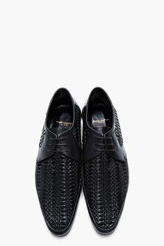 SAINT LAURENT Black Braided Leather Derbys