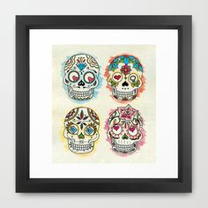 Sugar Skulls : 01 Framed Art Print | Society6 Skull Artwork, Framed Art Prints, My Design, Nerd, Fandoms, Sugar Skulls, Gifts, Candy Skulls, Presents