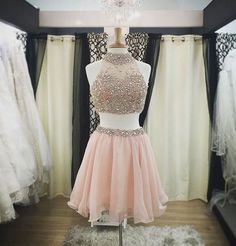 Blush Pink Homecoming Dresses,Beaded Homecoming Dresses,Two Pieces Homecoming…