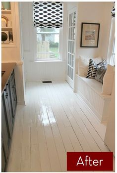 Wood Floor Makeover – Paint or Not? Just look at these glossy white wood floors. Decking of your home is one of the most remarkable interior architectural f. White Painted Wood Floors, Painted Floorboards, White Hardwood Floors, White Floorboards, White Flooring, Painting Wood Floors, Painted Linoleum, Floor Painting, House Painting