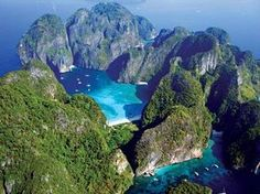 "Phi Phi Leh- where ""The Beach"" was filmed. Maya Bay on Phi Phi Leh Island in the Krabi Province of Thailand"