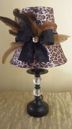 Black Feather And Leopard Print Table Lamp Animal Prints