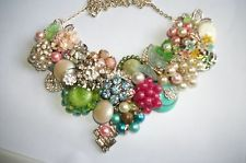 Handmade Upcycled Recycled From Vintage Jewelry Statement Necklace