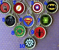 Super Hero party bottle cap necklace Party Favor pack by ThatRocks, $24.00