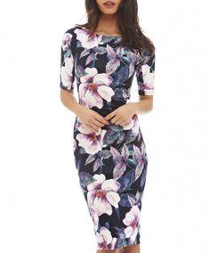 As mulheres Se Vestem Elegante Estampa floral Trabalho Business Casual Summer Party Bainha Vestidos 004-1
