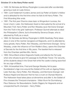 October 31st in the Harry Potter World while our world is sadly just Halloween