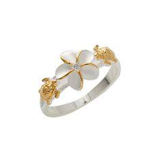 Two Tone Turtle Plumeria(8mm) Ring - Makani Hawaii,Hawaiian Jewelry and Watch Wholesaler and Manufacturer