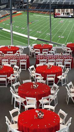 Reception in Nippert Stadium, anyone? University Of Cincinnati, Baseball Field, Ohio, Basketball Court, Reception, Sports, Banquet, Wedding Dress, Dinner
