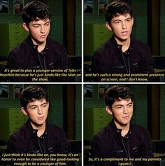 Teen Wolf Ian Nelson: It's great to play a younger version of Tyler Hoechlin because he's just kinda like the man on the show and he's such a strong and prominent presence on screen, and I don't know, I just think it's kinda like an, you know, it's an honor to even be considered like good-looking enough to be a younger version of him. So it's a compliment to me and my parents I guess!