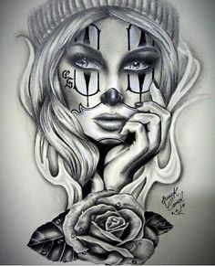 Clown girl by Chicano Tattoos, Chicano Drawings, Body Art Tattoos, Sleeve Tattoos, Gangster Drawings, Skull Girl Tattoo, Clown Tattoo, Tattoo Girls, Girl Tattoos