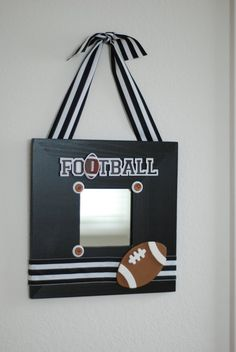 Football themed wall hanging decor frame by CuteasaButtonINC, $20.00