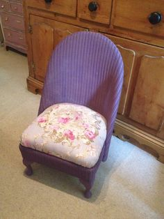 Beautiful vintage Lloyd Loom nursing chair, painted purple and upholstered with gorgeous French design fabric.