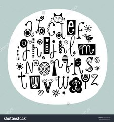 Stylish English Alphabet English Alphabet Stylish Letters Black White Stock Vector