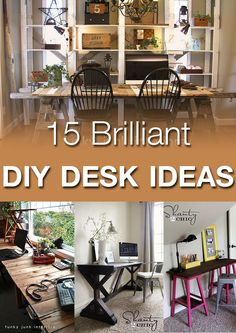 DIY desk ideas--awesome ideas for even the smallest (or biggest) spaces! Furniture Projects, Home Projects, Home Furniture, Home Office Organization, Organizing, Desk Ideas, Diy Desk, Diy Home Decor, Sweet Home