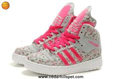 Cheap Girl Adidas X Jeremy Scott Big Tongue Shoes Flower Pink For Sale
