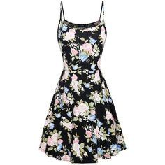 FANSIC Womens Sleeveless Floral Printed Swing Sundress Spaghetti Strap... ($9.99) ❤ liked on Polyvore featuring dresses, flower printed dress, floral sundress, floral sun dress, sun dresses and sundress dresses