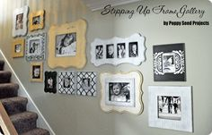 If you are looking for a frame gallery for your staircase, this is the cheapest way I know to create a frame collage with the hot and trendy shaped frames.