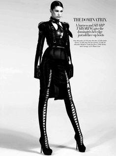 Boot Fashion: Samantha Gradoville in Alexander McQueen Laced Thigh High Boots. Harper's Bazaar, 08.2011.