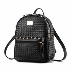 11259aadf3b Fashion Weave Pu Backpacks Pretty Style School Bags Women Famous Designer  Rivet Rucksack Student WovenTravel Backpack