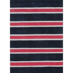 This durable and stylish rug features 100 polyester Hand-Tufted construction with navy, pink and white striped accents.
