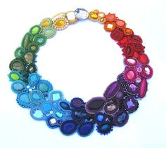 Rainbow Story II Colorful Soutache Necklace Charm Glamour Chic Collar Multicolor. $289.00, via Etsy.
