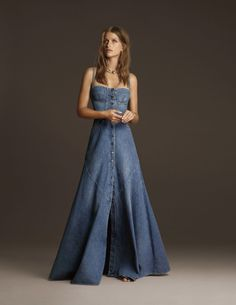 Citizens of Humanity Founder Aims to Bring High Fashion to the 'Basic' Denim Industry With New Line - FashionistaA look from the Jean Atelier spring 2018 collection.Jean Atelier competes with the likes of Vetements and Balenciaga in price, but has th Denim Wedding Dresses, Denim Dresses, Denim Skirts, Denim Fashion, High Fashion, Vogue Fashion, French Fashion, Vintage Fashion, Jeans Dress
