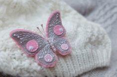 Butterfly brooch.Felt brooch.Gray Pink by GiftOfFelt on Etsy